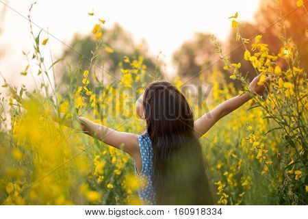 Portrait of happy Asian girl feeling freedom in the flower field, Freedom concept
