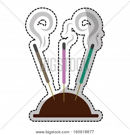 aromatherapy incense sticks over white background. vector illustration