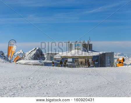 Mt. Titlis, Switzerland - 9 March, 2016: view on the top of the mountain. Titlis is a mountain located on the border between the cantons of Obwalden and Bern, mainly accessed from the town of Engelberg.
