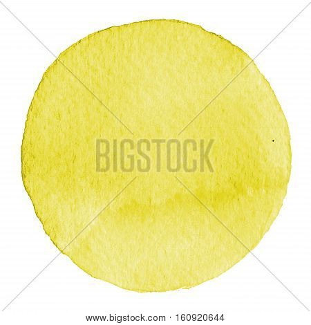 Watercolor Hand Painted Circle. Beautiful Design Elements. Yellow Background