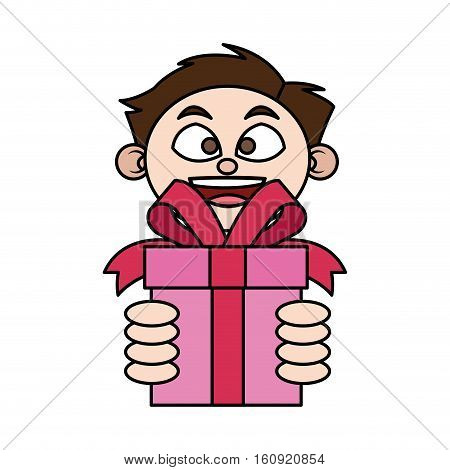 Gift and boy icon. Present holiday celebration and surprise theme. Isolated design. Vector illustration