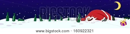 Santa Claus drunk with bottles in snow, New Year party celebration humorous cartoon banner, vector, horizontal