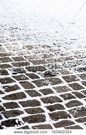 Street Cobblestone Grey Pavement Covered With Snow