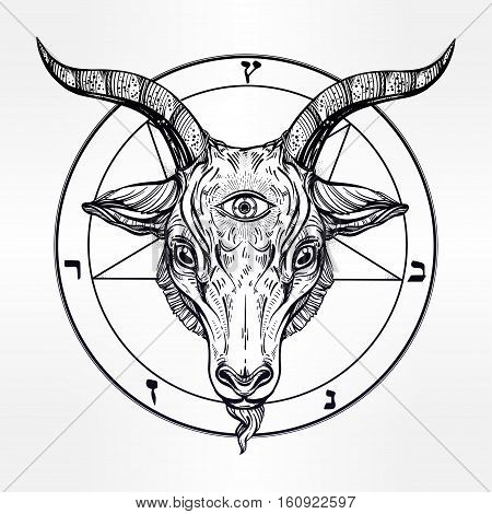Pentagram with demon Baphomet. Satanic goat head with third eye. Binary satanic symbol. Vector illustration isolated. Tattoo design, retro, music, summer, print symbol for biker black metal themes.