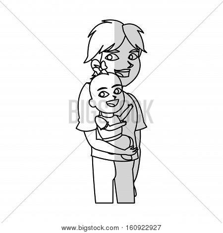 Baby and brother cartoon icon. Child kid little small and infant theme. Isolated design. Vector illustration