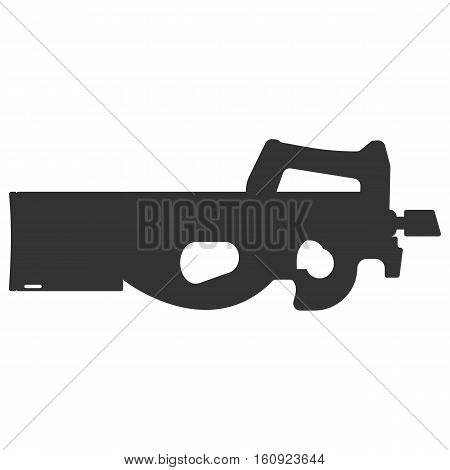 Submachine gun silhouette security and military weapon. Metal automatic gun. Criminal and police firearm vector illustration isolated on white.