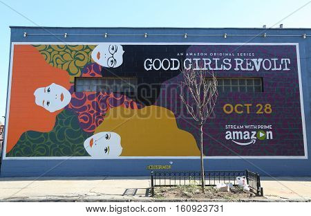 BROOKLYN, NEW YORK - OCTOBER 18, 2016: An Amazon original series Good Girls Revolt advertising in Brooklyn.