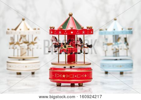 Wooden Carousel Horses With Old Vintage Look