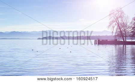 An image of the lake Starnberg view from Tutzing