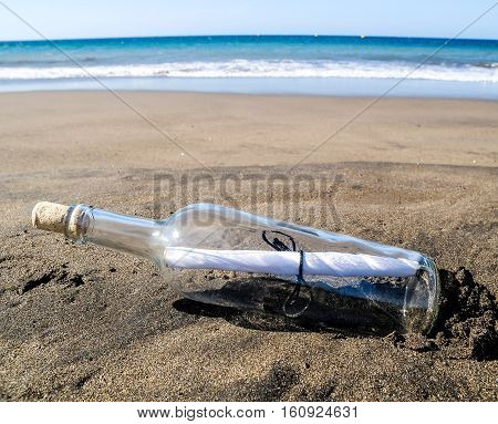 Message In A Bottle On A Lonely Beach