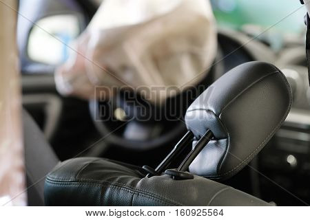 Airbag exploded at a car accident
