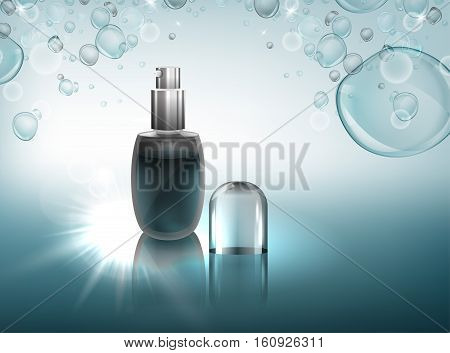 Transparent glass flacon with silver elements. Beautiful vector illustration in realistic style. Cosmetic, skin care or perfumery concept in clear light blue colours. Premium design template.
