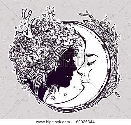 Dreamy elf fairy with a moon. Portrait of a beautiful girl head with decorative hair and flowers on her head and a cresent next to her. Boho, spirituality, tattoo art. Isolated vector illustration.