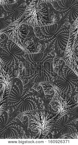 Abstract grey intricate texture - computer-generated image. Fractal geometry: curls and curls woven into a complex ornament. Asymmetric pattern for covers, puzzles, web design.