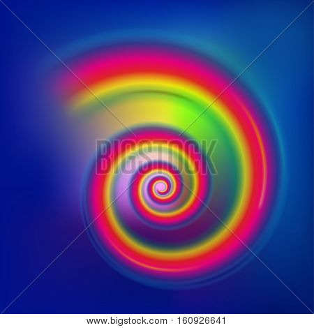 Beautiful multicoloured vector swirl on a bright blue background. Spectrum emblem symbol. Abstract dynamic curly wave background.