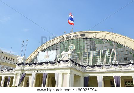 Bangkok Thailand December 2, 2016 : front of Hua Lamphong oldest Bangkok railway station service Thai people since 1916