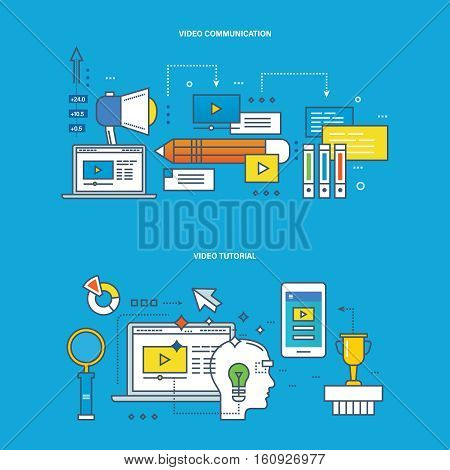 Concept of illustration - communications and technology, modern education and learning, research, tutorial. Vector design for website, banner, printed materials and mobile app.