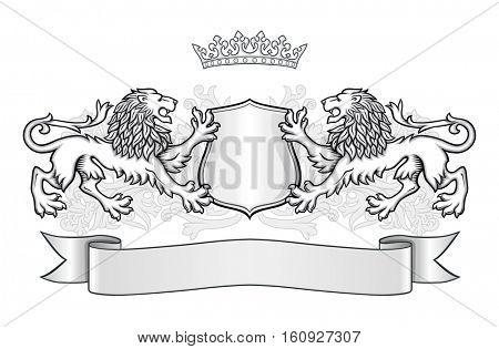 Crest with two lions, a shield with a crown and banner.