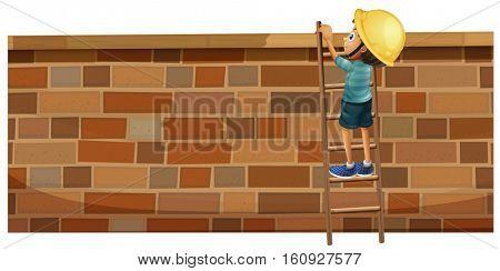 Boy climbing up the brick wall illustration