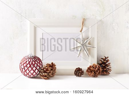 Image frame and vintage Christmas decorations