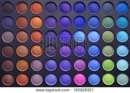 Professional multicolour eyeshadows palette for design or background.
