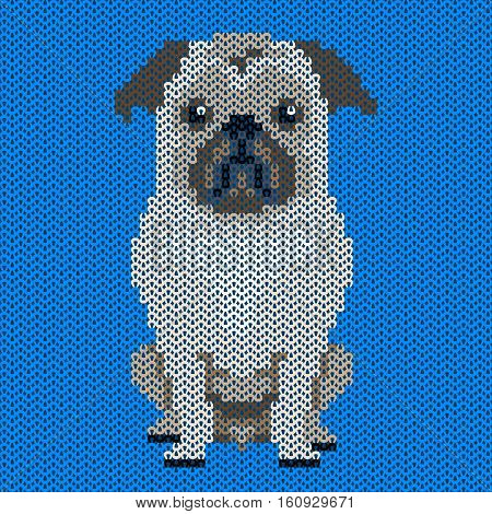 Vector knitted dog pattern.Pug-dog on blue background. Illustration for sweater, pullover, slip-over, wooly, bag, satchel, carrier bag.