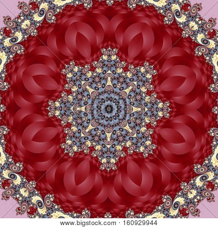 Fabulous red fractal background with spiral and circle ornament.