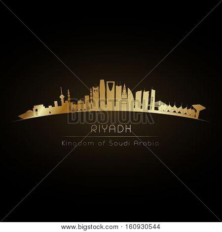 Golden logo Riyadh Saudi Arabia city skyline. Vector silhouette illustration