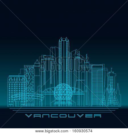 Vancouver skyline detailed silhouette. Modern vector illustration blue linear style.