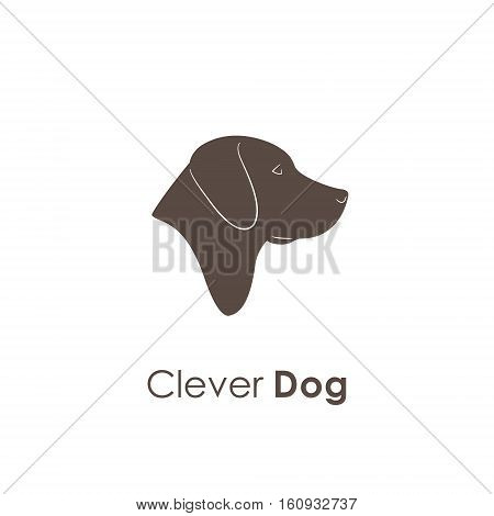Clever Portrait of Labrador Dog. Logo animal. Vector illustration.