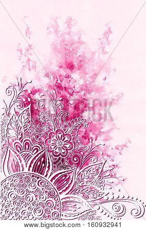 Symbolic Flowers and Leafs, Abstract Pink Floral Outline Ornament on Hand-Draw Watercolor Painting Background