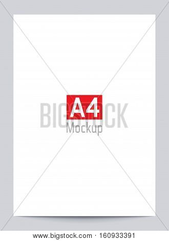 Mockup Blank White Paper Page A4 Size With Shadow.
