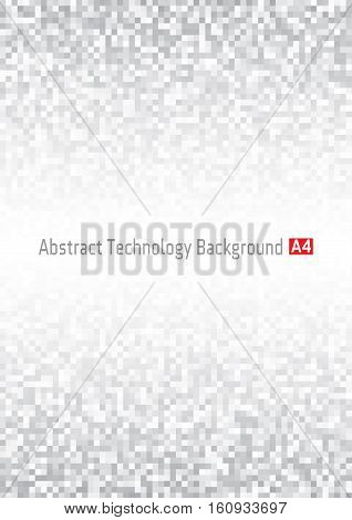 Abstract Gray Pixel Vertical Technology Background, A4 Format.