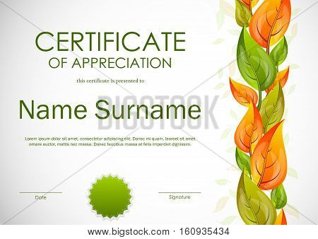 Certificate of appreciation template with green and orange leaves and seal. Vector illustration