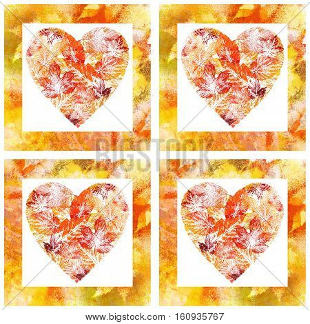 Valentine Heart and Frame from Autumn Leaves, Watercolor Painting Isolated on White Background