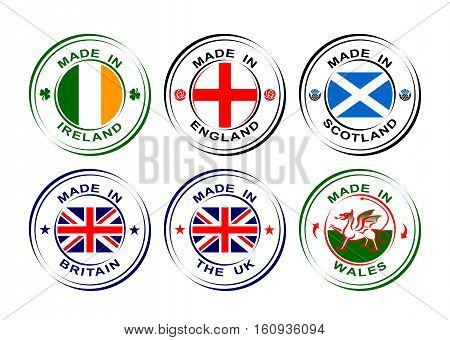 Collection of round labels Made in United Kingdom, Great Britain with flag, Wales with dragon, Scotland with thistle, England with rose, Ireland with shamrock