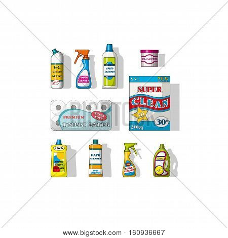 Set of different cleaning agents, vector illustration