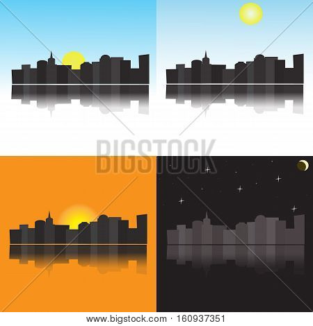 The city at different times of day, morning, afternoon, evening, night