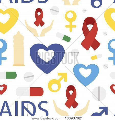 Aids day set pattern. Protect yourself from AIDS. Use a condom. The HIV virus. The test for HIV. Infographics. Red ribbon. Vector illustration.