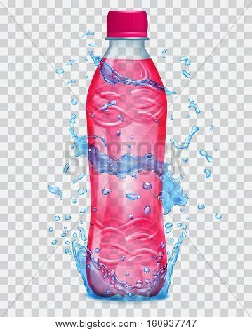 Transparent Water Splashes In Blue Colors Around A Transparent Plastic Bottle With Red Juice