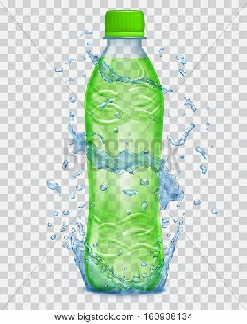 Transparent Water Splashes In Blue Colors Around A Transparent Plastic Bottle With Green Juice