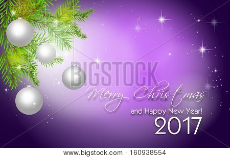 Illustration of purple christmas background with christmas bulbs and needles with text