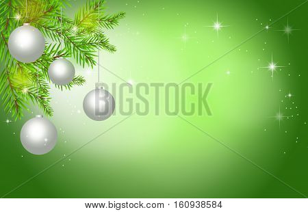 Illustration of green christmas background with christmas bulbs and needles