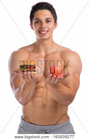 Fitness Sports Fit Diet Apple Fruit Hamburger Healthy Eating Bodybuilder Bodybuilding Young Man