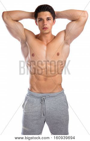 Bodybuilder Bodybuilding Flexing Muscles Body Builder Building Strong Muscular Young Man Isolated