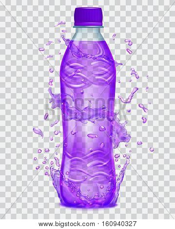 Transparent Water Splashes In Purple Colors Around A Transparent Plastic Bottle With Purple Juice