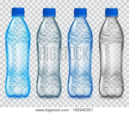 Set Of Transparent Plastic Bottles With Mineral Water