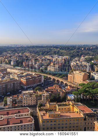 View Houses And Bridges Of Rome
