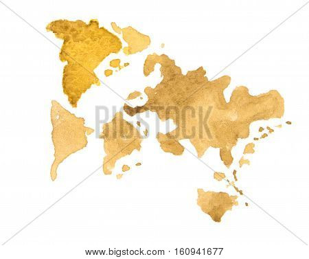 World Map watercolor abstract. Not a real map of the world for the entourage