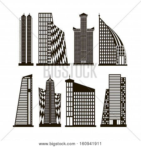 Skyscrapers icons set in detailed. Modern and old skyscrapers. For city building.